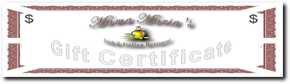 Greek Food Italian Cuisine Mama Maria's Gift Certificates in Greenville SC